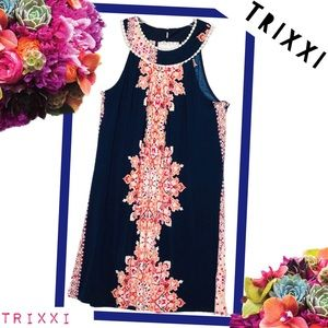 TRIXXI CLOTHING CO Navy and Floral Dress